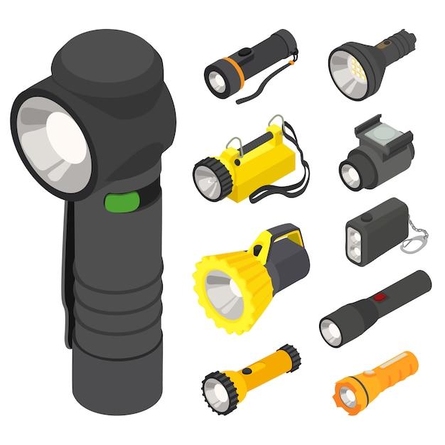 Flashlight icons set, isometric style Premium Vector