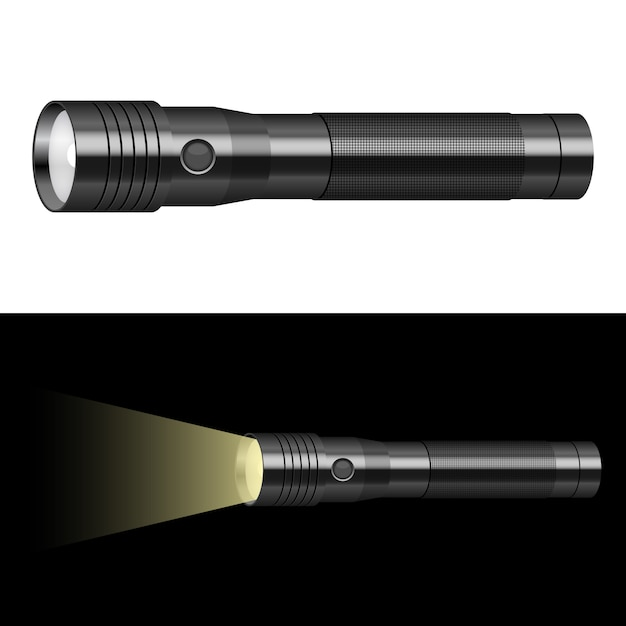 Flashlight   illustration  on background Premium Vector