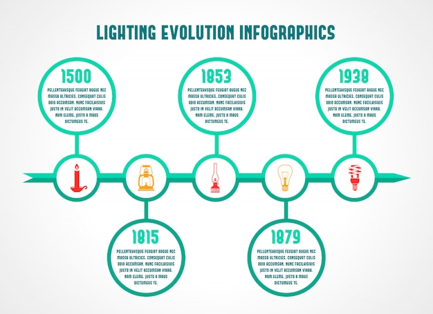 Flashlight and lamps energy saving timeline infographic vector illustration Free Vector