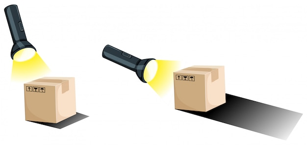 Flashlight and shadow of the boxes Free Vector