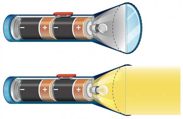 Flashlights turning off and on with batteries inside Free Vector
