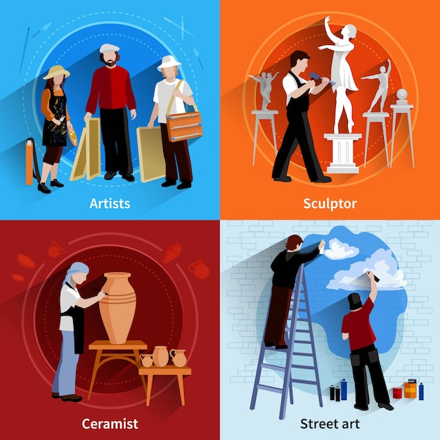 Flat 2x2 images set of artists sculptor ceramist and street art painters Free Vector