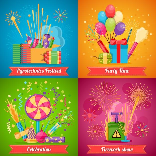 Фестиваль пиротехники flat 2x2 набор иконок Бесплатные векторы
