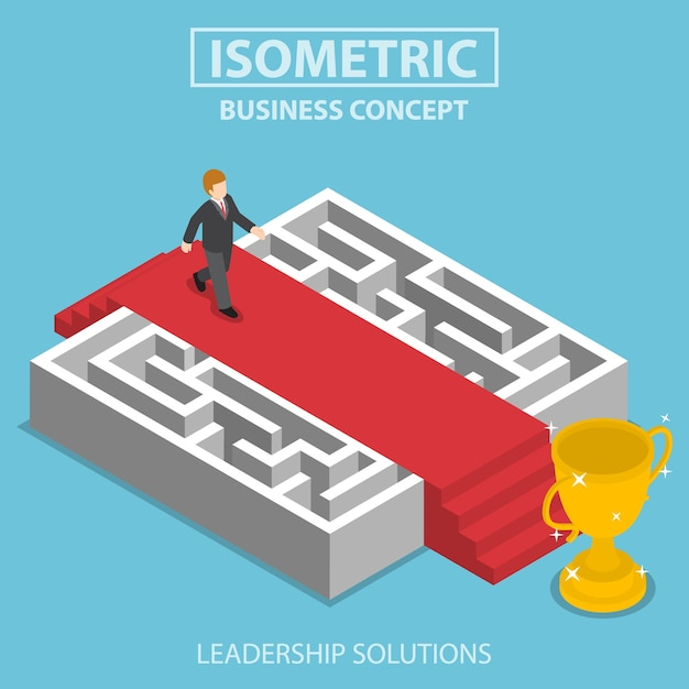 Плоский 3d изометрический бизнесмен, идущий по красной ковровой дорожке над лабиринтом, бизнес-решения и концепция лидерства Premium векторы