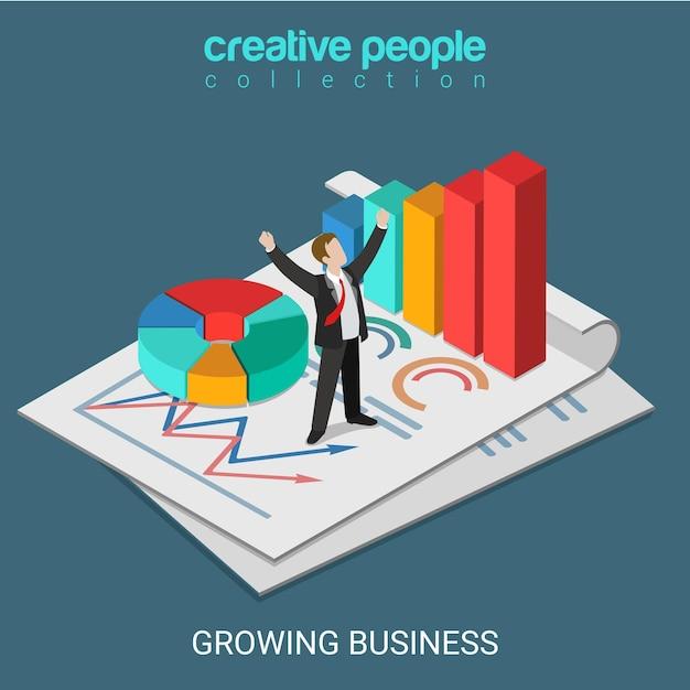 Piatto 3d isometrico in crescita business concept web infographics illustrazione Vettore gratuito