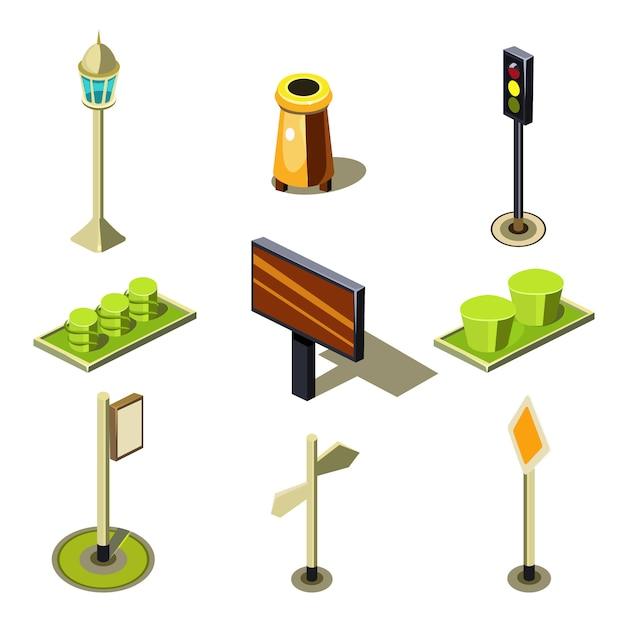 평면 3d 아이소 메트릭 고품질 도시 거리 도시 개체 아이콘 세트 프리미엄 벡터
