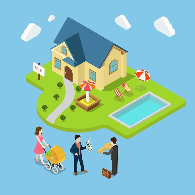 평면 3d 아이소 메트릭 새 가족 집 판매 부동산 사업 개념 프리미엄 벡터