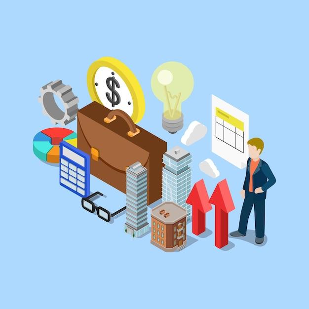 Piatto 3d isometrico immobiliare immobiliare contabilità finanziaria contabilità aziendale Vettore gratuito