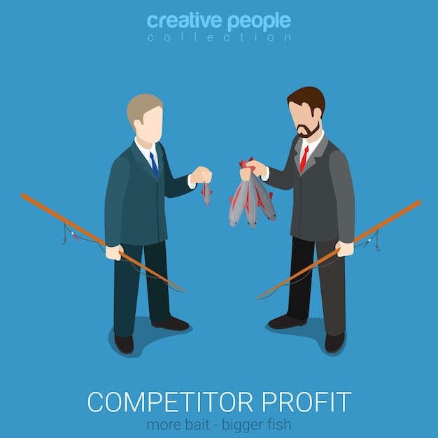 Flat 3d isometric style competitor profit comparison concept Free Vector