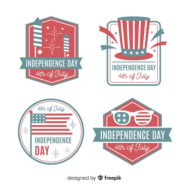 Flat 4th of july badge collection Free Vector