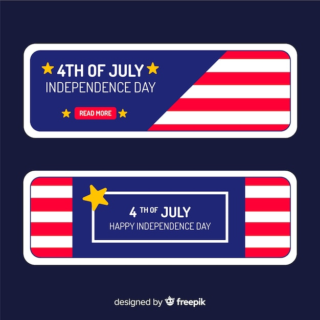 Flat 4th of july banners template Free Vector