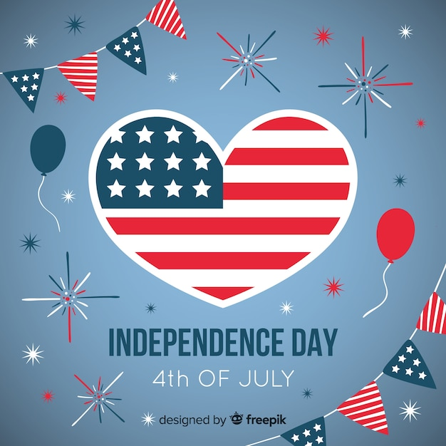 Flat 4th of july - independence day background Free Vector