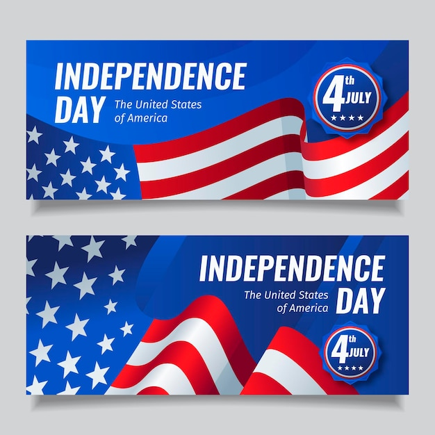 Flat 4th of july - independence day banners pack Free Vector