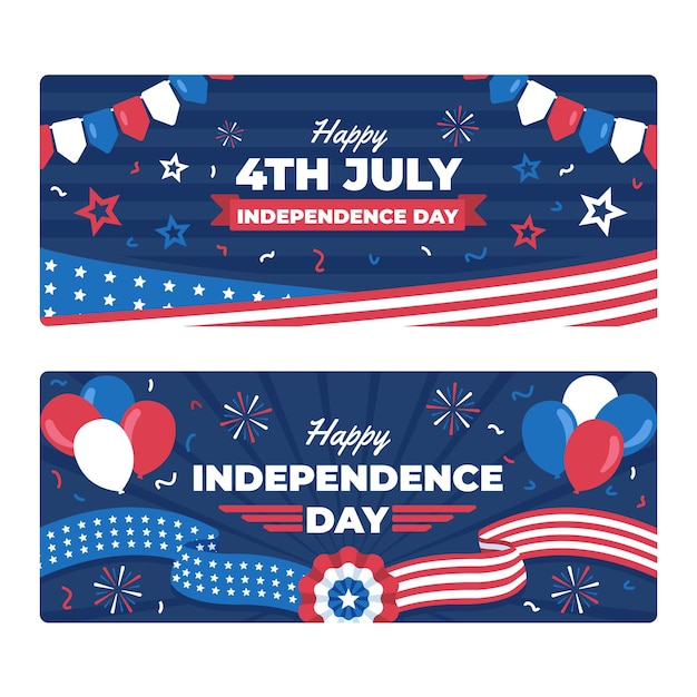 Free Vector | Flat 4th of july - independence day banners set