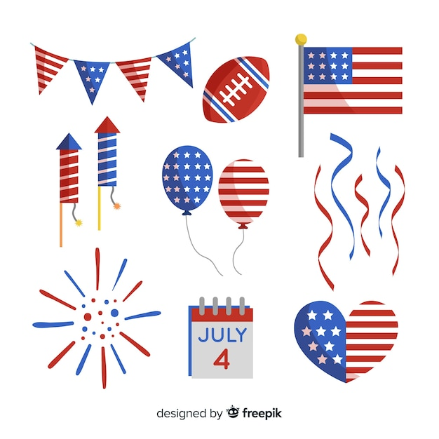 Flat 4th of july - independence day element collection Free Vector