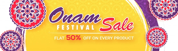 Flat 50% discount offer for onam festival sale banner. Premium Vector