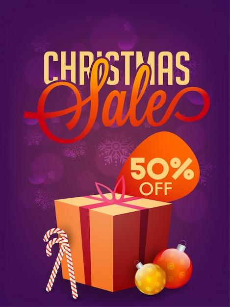 Предложение 50% на продажу рождественских праздников Premium векторы