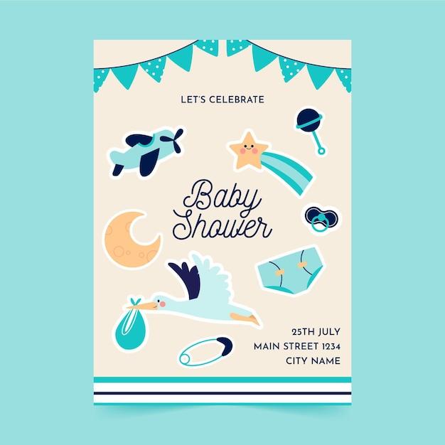 Flat a5 flyer template baby shower Premium Vector