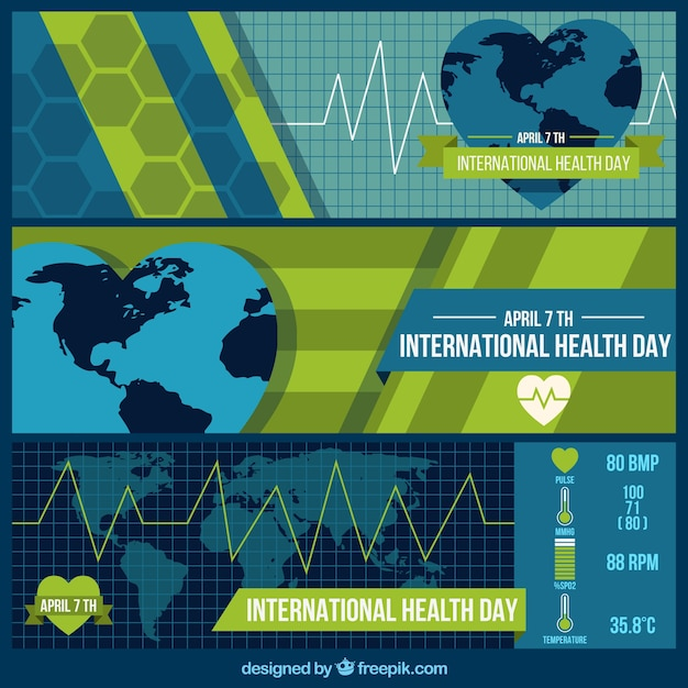 Flat abstract banners of International health\ day