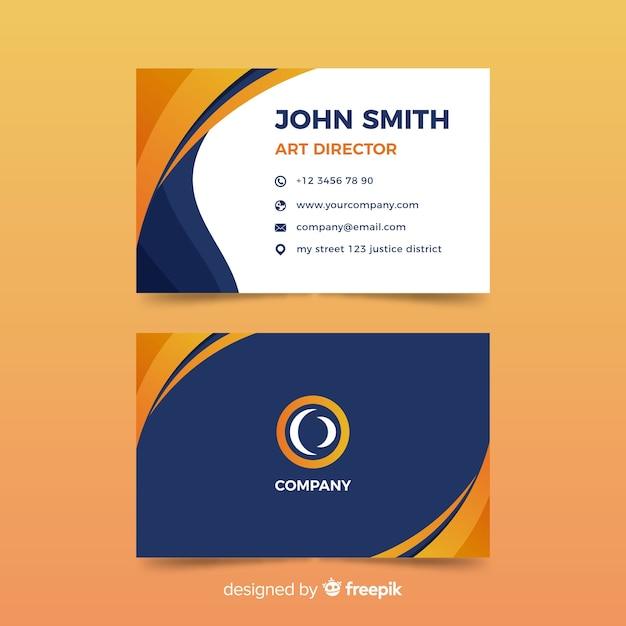 Плоский абстрактный шаблон визитной карточки Premium векторы