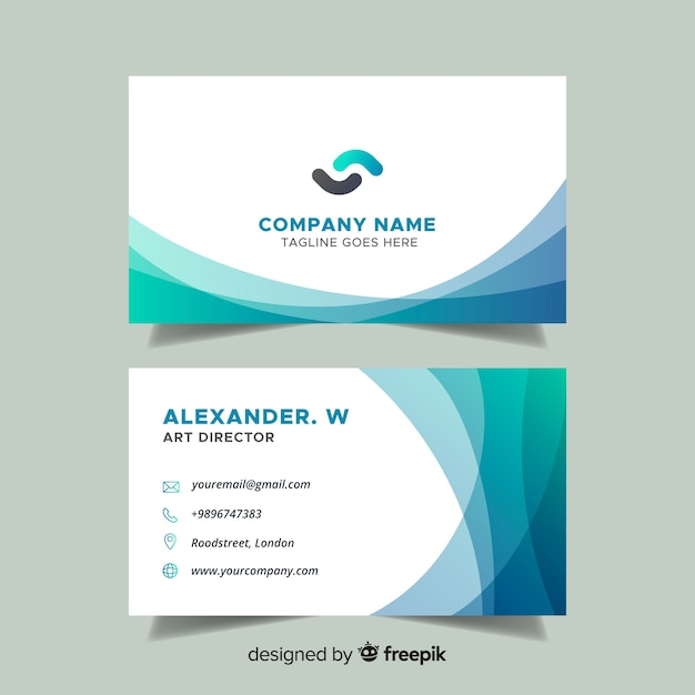 Buisness Card Template | Flat Abstract Business Card Template Vector Free Download