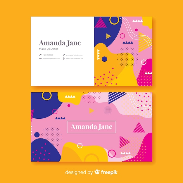 Flat abstract business card template Free Vector