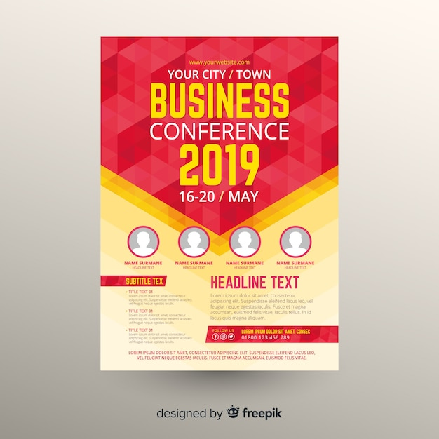 Flat abstract business conference flyer template Free Vector