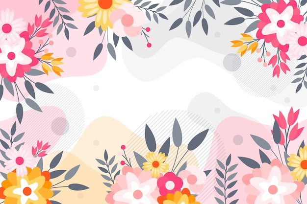 Flat abstract floral background concept Free Vector