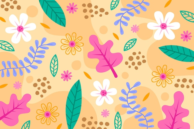 Flat abstract floral wallpaper Free Vector