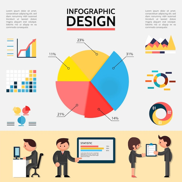 Flat abstract infographic with graphs charts diagrams and business people in different situations illustration Free Vector