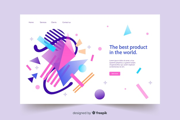 Flat abstract landing page template Free Vector