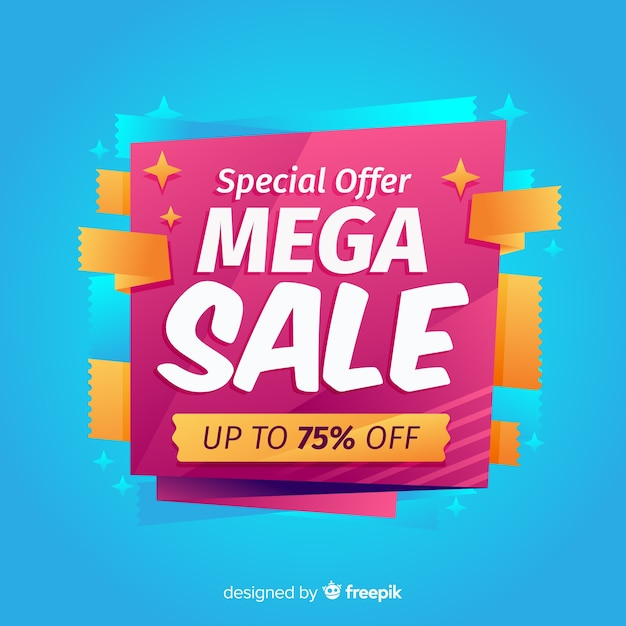 Flat abstract mega sales background Free Vector