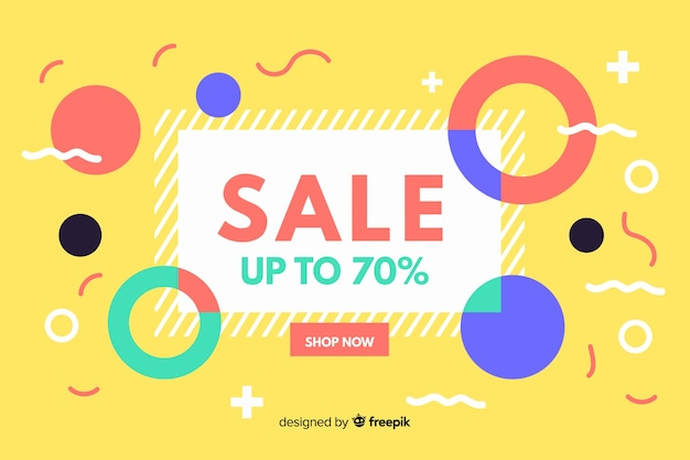 Flat abstract sale background Free Vector
