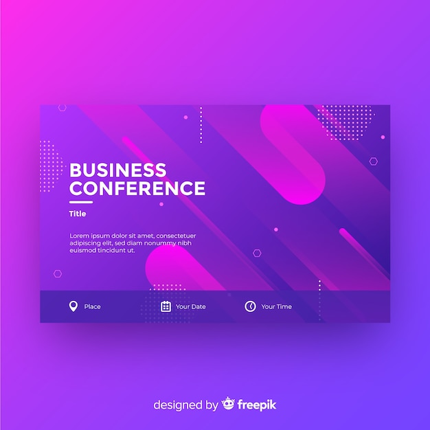 Flat abstract shapes business conference landing page Free Vector