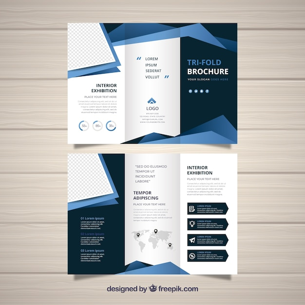 flat abstract trifold brochure free vector