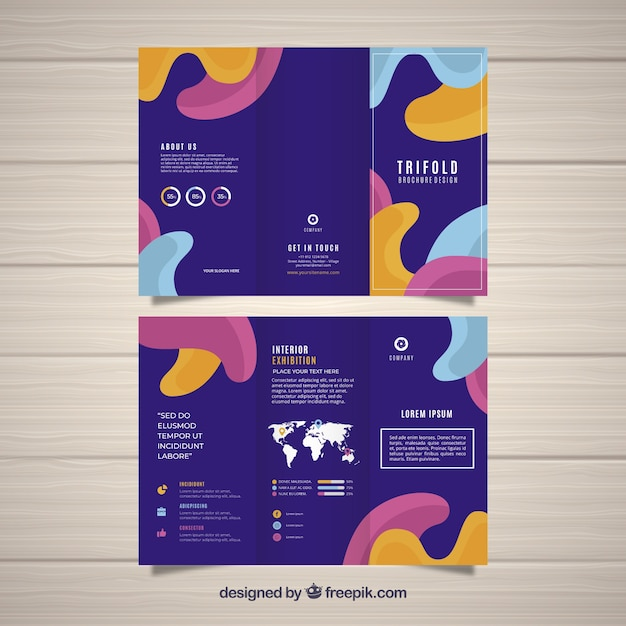 Flat abstract trifold brochure Vector | Free Download