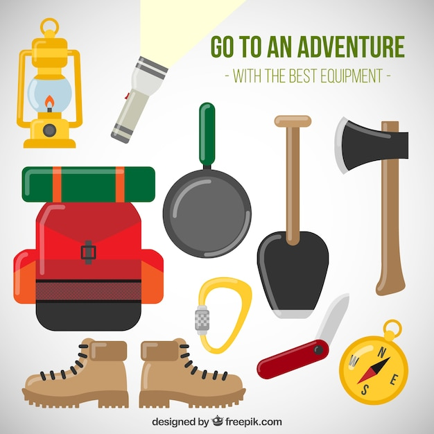 Flat accessories for adventure Free Vector