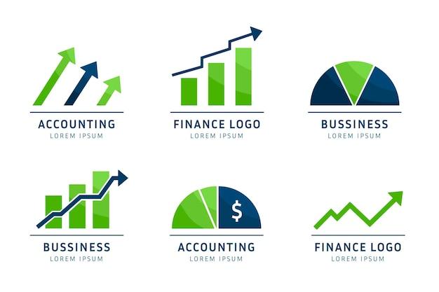 Collezione logo contabilità piatta Vettore gratuito
