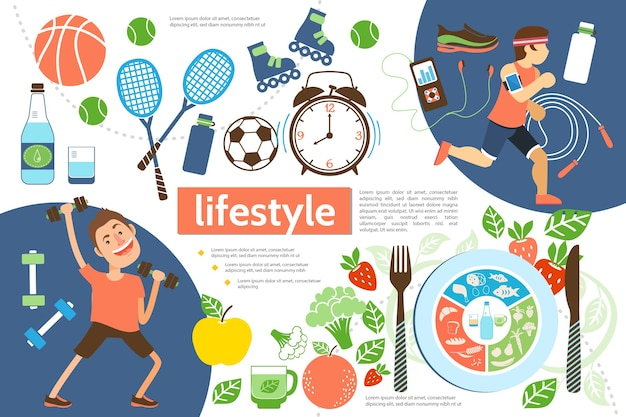 Flat active lifestyle infographic template with athletes sport equipment alarm clock and healthy food illustration Free Vector