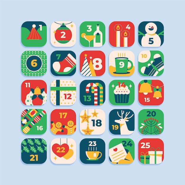 Flat advent calendar for christmas Free Vector