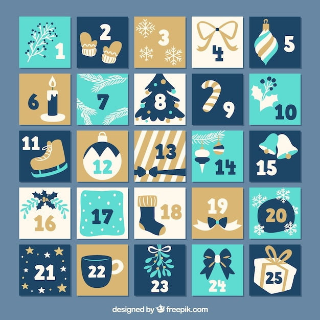 Flat advent calendar in tones if blue and beige