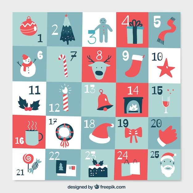 Flat advent calendar in tones of blue and red