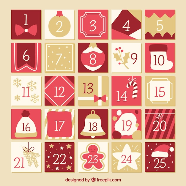 Flat advent calendar in tones of red and beige