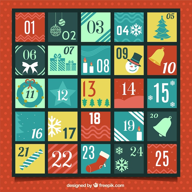 Flat advent calendar with christmas attributes