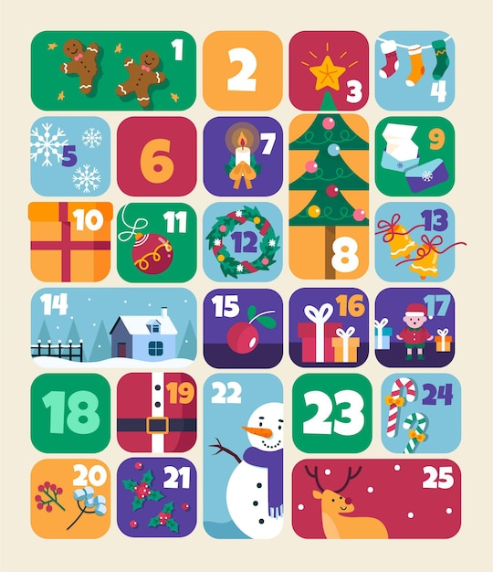 Flat advent calendar with christmas elements Free Vector