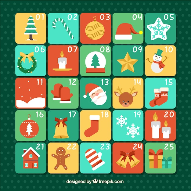 Flat advent calendar with typical christmas elements