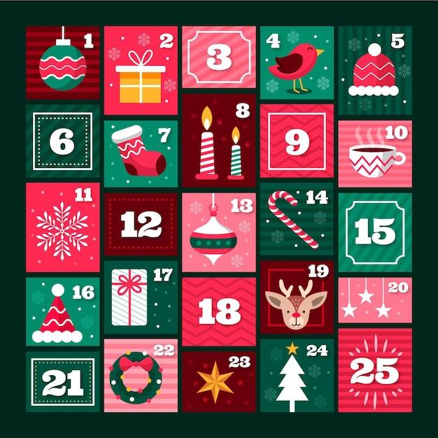 Flat advent calendar Free Vector