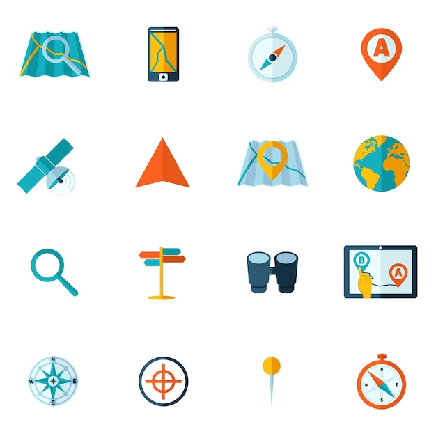 Flat adventure icons Free Vector
