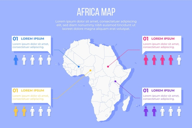 フラットアフリカ地図インフォグラフィック 無料ベクター