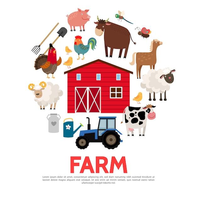 플랫 농업과 농업 개념 무료 벡터